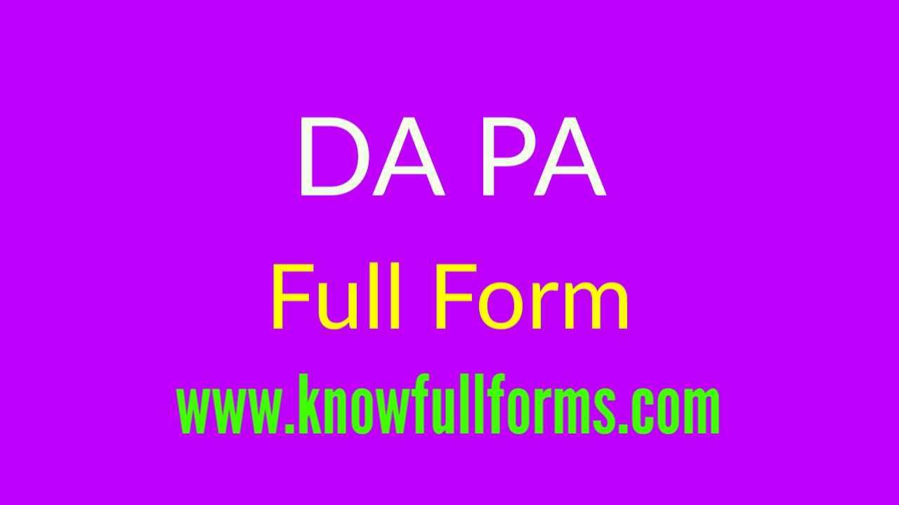 DA PA Full Form in Hindi