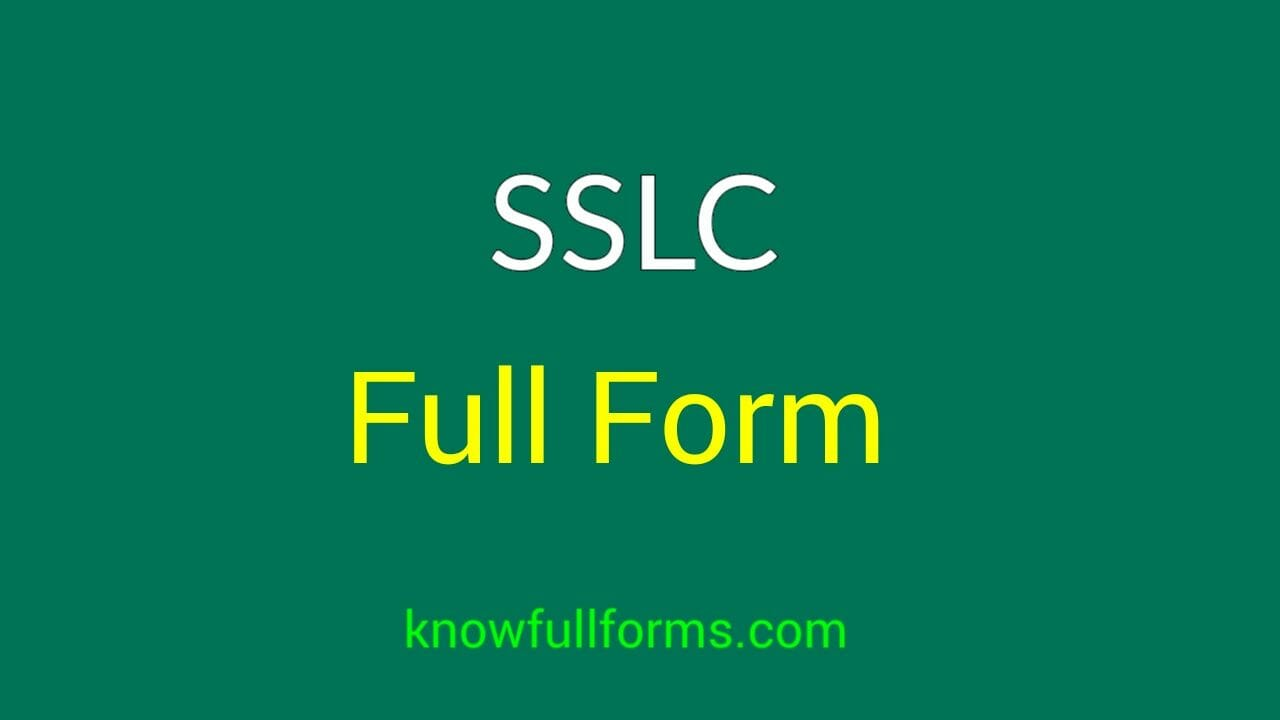 SSLC Full Form in Hindi